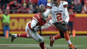 Dec 27, 2015; Kansas City, MO, USA; Cleveland Browns quarterback Johnny Manziel (2) looks to pass and is pressured by Kansas City Chiefs linebacker Dee Ford (55) during the second half at Arrowhead Stadium. The Chiefs won 17-13. Mandatory Credit: Denny Medley-USA TODAY Sports