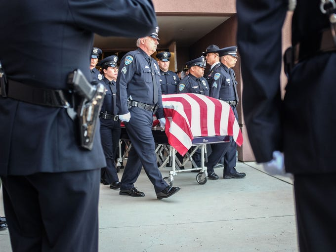 The body of fallen Palm Springs Police Officer Jose