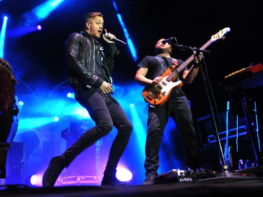 Dan Reynolds (left) and Ben McKee of Imagine Dragons will perform April 3 at White River State Park.