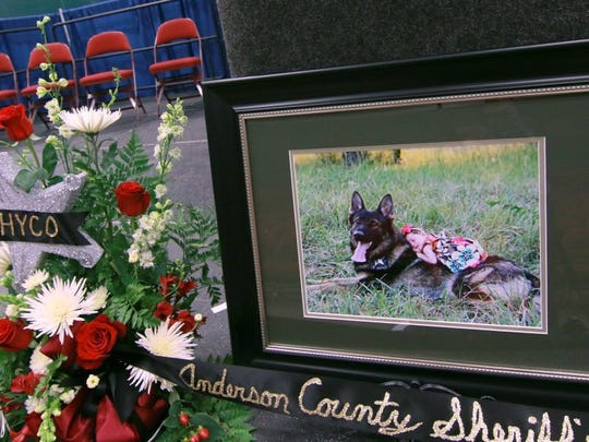 A photo and display on stage during the memorial service