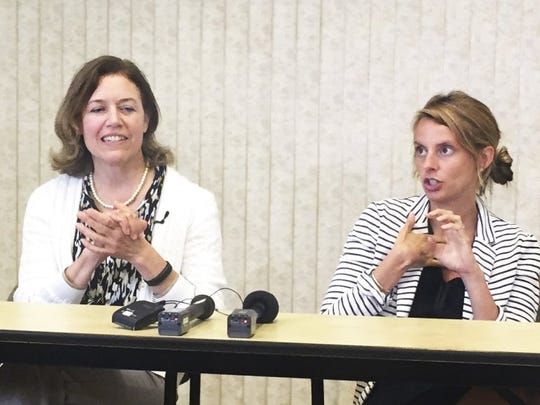 Title IX coordinator Jenny Richter, left, and Ashley Blamey, director of the UT Center for Health Education and Wellness, discuss UT programming in the wake of the settlement of the Title IX lawsuit on Wednesday, July 6, 2016, at the University of Tennessee. (MJ SLABY/NEWS SENTINEL)