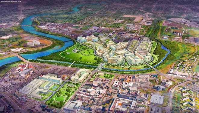 A 2015 rendering of the plan for the 16 Tech technological park north of the Indiana University-Purdue University campus.