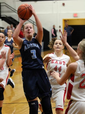 Adena's Taylor Rawlings shoots against East Clinton earlier this season at Paint Valley High School. Rawlings has been a mainstay inside for the Warriors.