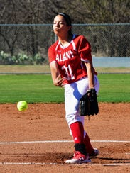 Albany's Reyna Garcia throws a pitch during 5-0 win over Haskell on March 20 in Albany.