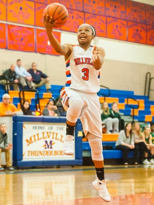 Millville's India Parker (3) goes for a layup against Clearview at Millville High School on Tuesday, February 27.