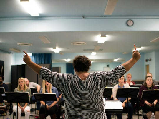 Maestra Liz Braden conducts during a rehearsal for 'The Wake World' with the Opera Phildelphia.