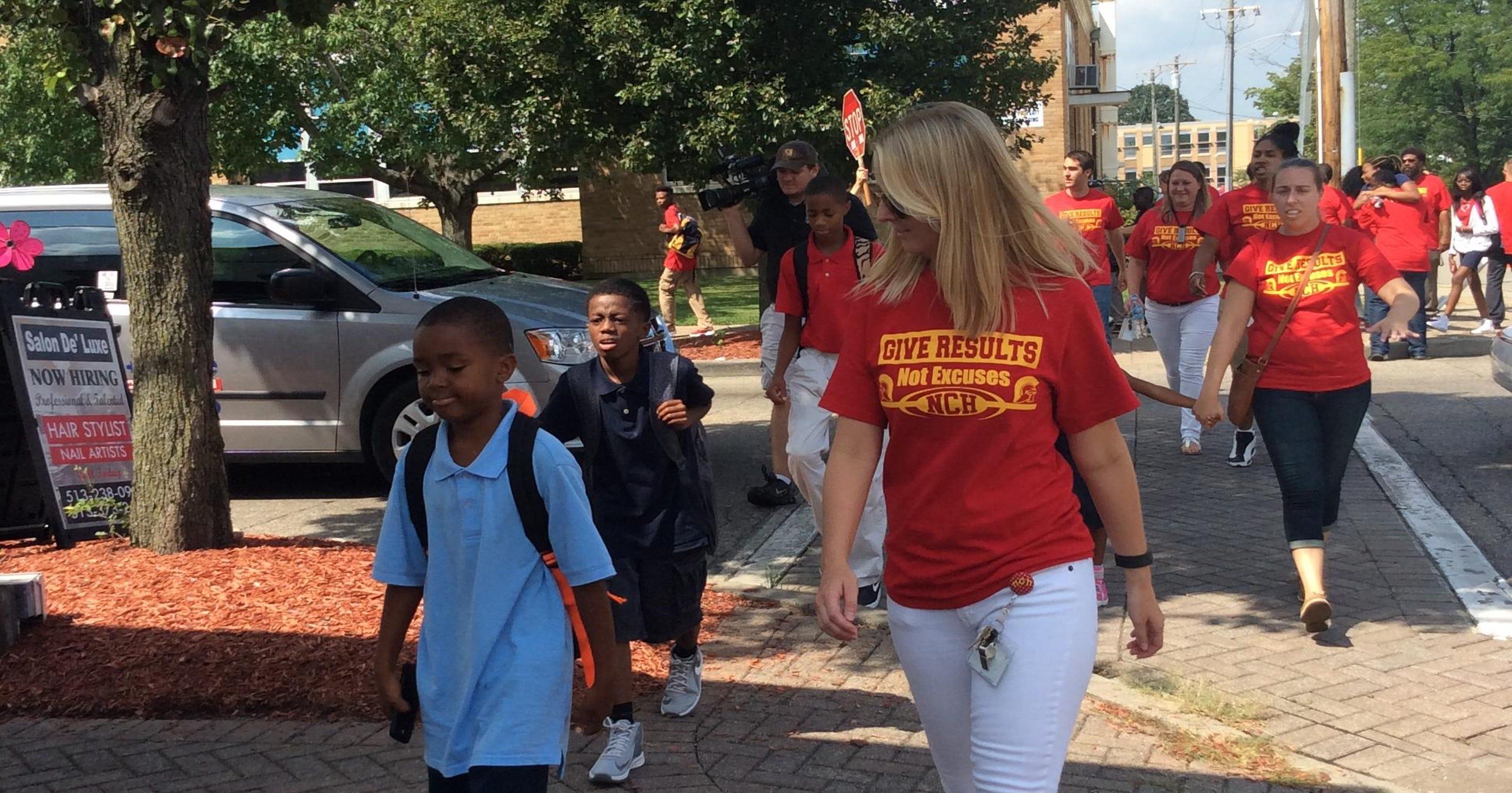 NCH staff kicks off school year walking students home