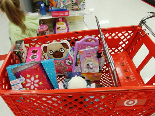 One of the many carts that were filled with toys and