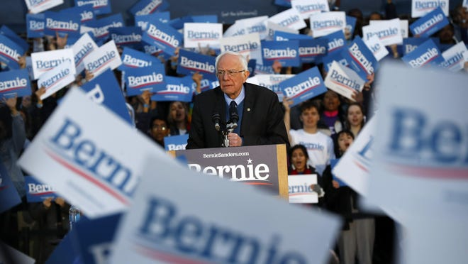 Democratic presidential candidate U.S. Sen. Bernie Sanders, I-Vt., speaks during a campaign rally at the University of Michigan in Ann Arbor, Mich., Sunday, March 8, 2020.