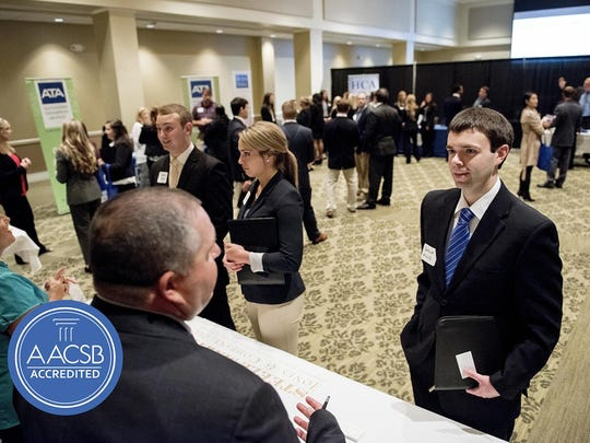 "UT Martin students participate in ""Meet the Firms Day,"" hosted by the College of Business and Global Affairs, to help them network with professionals and practice their interview and interpersonal skills."