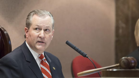 Alabama Speaker of the House Mike Hubbard speaks during the opening day of the Alabama State House Session on Tuesday, March 3, 2015, in Montgomery, Ala. Prosecutors Monday accused Hubbard of seekng to overturn the state ethics law