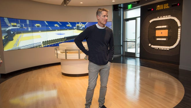 12/19/17 12:43:36 PM -- San Francisco, CA, U.S.A  -- Golden State Warriors head coach Steve Kerr shows around their new home, Chase Center. --    Photo by Kyle Terada-USA TODAY  Sports Images, Gannett ORG XMIT:  US 136858 Chase Center 12/19/2017