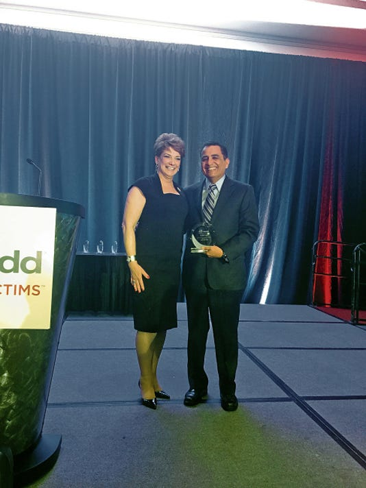Courtesy photo   MADD National President Colleen Sheehey-Church and El Paso District Attorney Jaime Esparza pose for a photo Saturday during the Mothers Against Drunk Driving 35th anniversary national conference in Washington, D.C. Esparza received the National President's Award for the criminal justice prosecutor category.