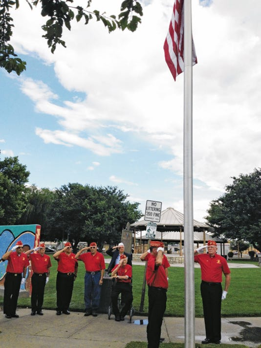 "The Gaffney/Oglesby Marine Corps League, seen in this photo from July 4, will post the Colors today during the 14th annual ""Honoring Our Heroes"" 9/11 memorial in Gough Park. Sun-News File Photo"