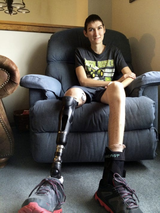 "Justin ""Bucket"" Almoney has made a lot of progress since a harrowing illness took his leg."