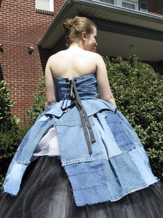 Emily Falkenski will be wearing this homemade denim ball gown to the May 22 West York Area High School prom. The strapless gown has a black ribbon that ties it together in the back, and black and white tulle are layered under the skirt.
