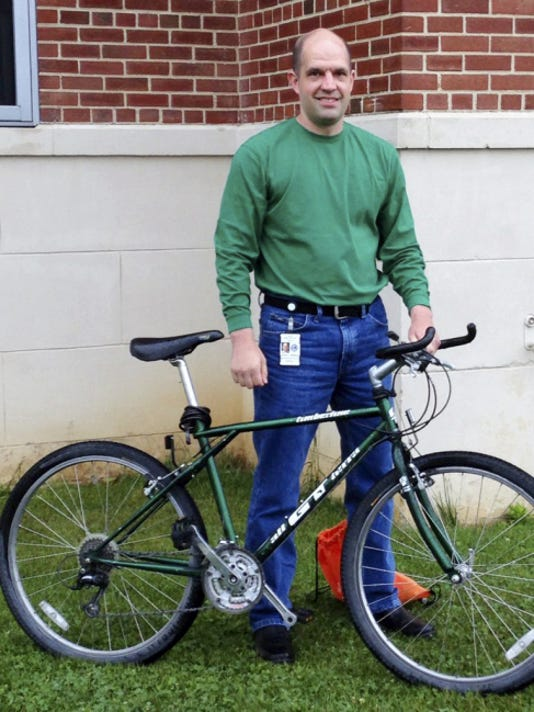 Amos Matsick, of Lebanon, biked to his job at the Lebanon VA Medical Center in Lebanon County. He is the Lebanon County winner in the Bike to Work Week contest.