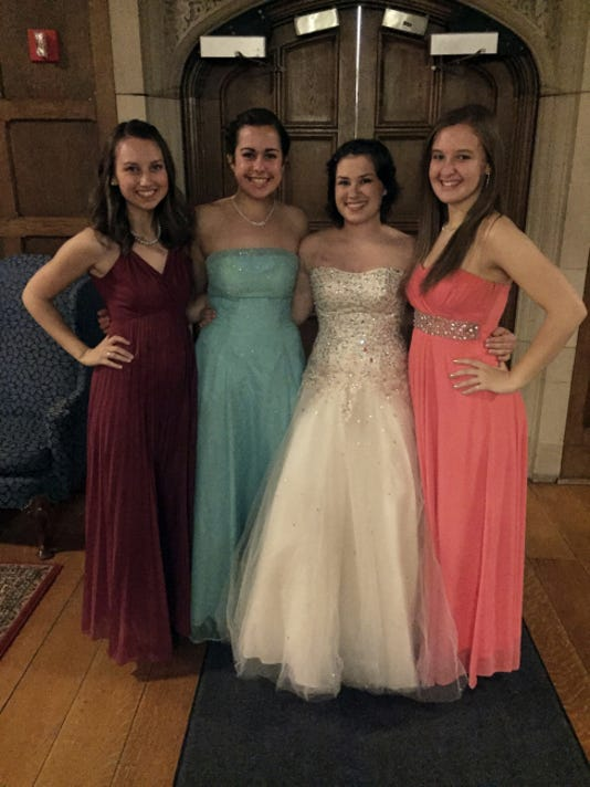 When Justine Staniszewski returned to school at Grove City College, she was able to attend events such as the college's annual presidential gala with her three roommates. From left to right is Mariah Syre, Lily Cloke, Staniszewski and Meghann Healey.