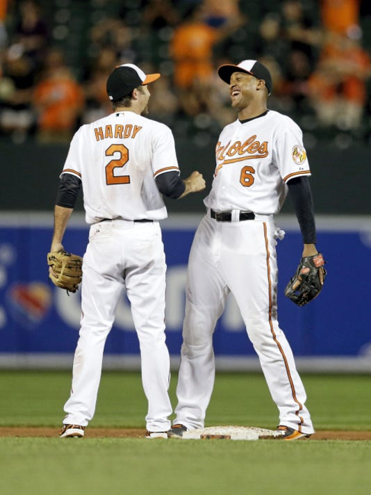 Baltimore Orioles shortstop J.J. Hardy, left, and second baseman Jonathan Schoop celebrate after Monday's 4-2 victory over Oakland.