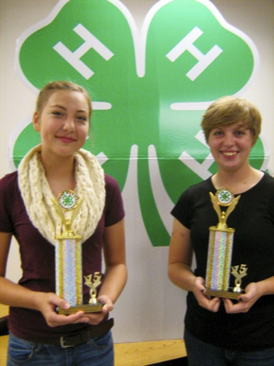 Lebanon County 4-H Club officers, from left, Lauren Mettley, secretary, and Ashleigh Gentry, news reporter, were honored with county 4-H club officer awards.