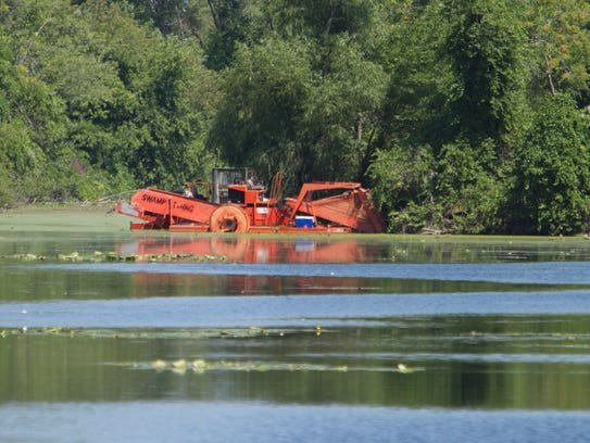 Machinery used to dredge Brighton Mill Pond was used