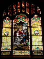 One of the stained glass windows at St. Andrew. The church had its final service this past Sunday.