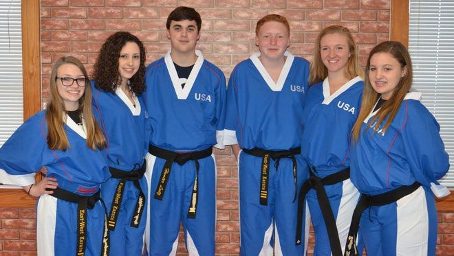 Six local teens will be competing in the WKU World Championships through the end of the month. From left: McKenzie Fuquay, Megan Lutz, Hunter Lutz , Alec Brown, Makenzie Warren  and Baylie Will.