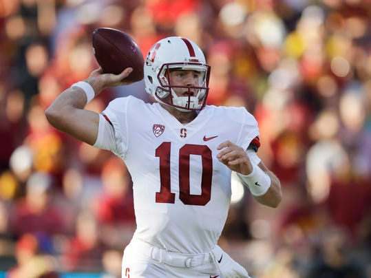Stanford quarterback Keller Chryst throws a pass during the first half of an NCAA college football game against Southern California, Saturday, Sept. 9, 2017, in Los Angeles. (AP Photo/Jae C. Hong)