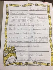 Hales Corners Elementary first graders wrote to the