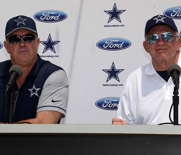 Jul 29, 2016, Oxnard, CA, USA; Dallas Cowboys executive vice president Stephen Jones (left) and owner Jerry Jones at press conference at the River Ridge Fields. Mandatory Credit: Kirby Lee-USA TODAY Sports