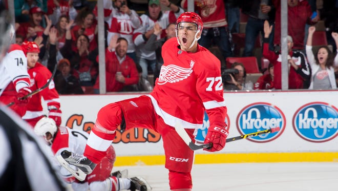 Red Wings center Andreas Athanasiou has already had several notable games in his young career.