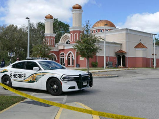 An arson was reported at the Daarus Salaam Mosque on Morris Bridge Rd. in Thonotasassa, Fla., early Friday, Feb. 24, 2017. This fire has the signs of an intentional criminal act, and the local authorities and federal agents from A.T.F. (Alcohol Tobacco and Firearms) are presently investigating it. (James Borchuck/The Tampa Bay Times via AP)