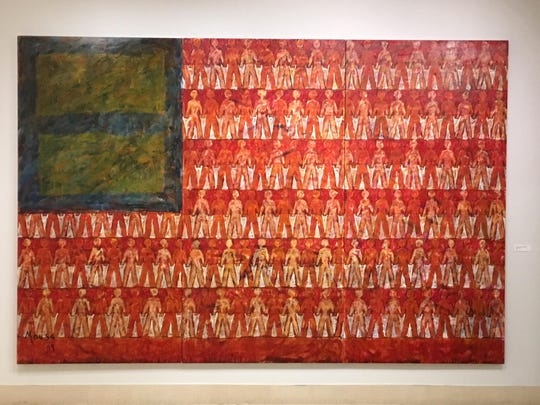"Syrian-born artist Nabil Mousa uses the American flag in paintings that examine freedom and gay rights in America in ""American Landscape."""