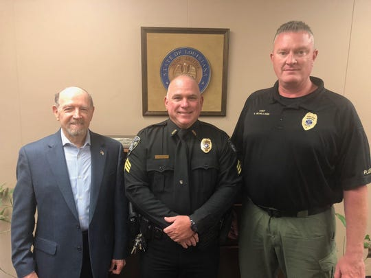 Left to right - Bossier City Mayor Lorenz Walker, Sgt. Javis Smoak and Chief