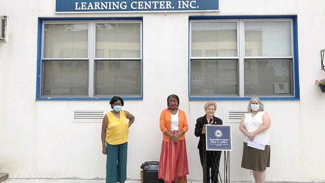 From left, Diane Rivera, executive director of West Street Child Care Learning Center; Ouida Foster Toutebon, executive director of Head Start of Rockland; Assemblywoman Ellen Jaffee; and Vicki Caramante, executive director of Child Care Resources of Rockland outside West Street Child Care Learning Center in Spring Valley on Thursday, calling on Gov. Andrew Cuomo to dedicate CARES Act funding to child care.