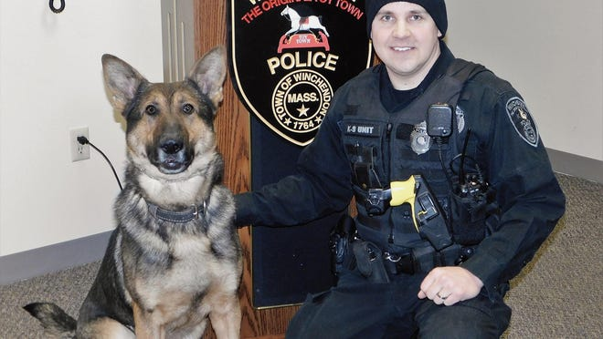 Winchendon police K9 Clyde is shown with his handler, Officer James Wironen.