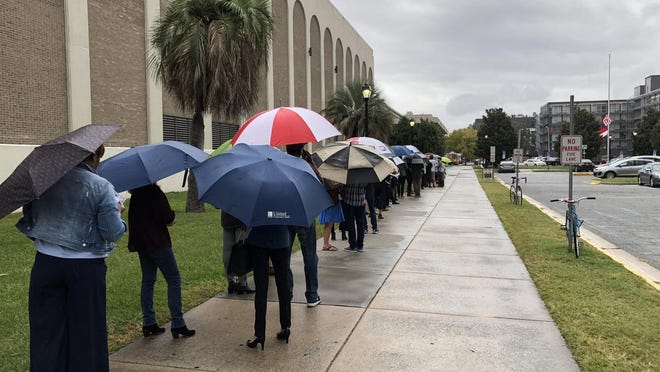 The early voting line stretched out of the Savannah Civic Center Friday afternoon. Shortly after this photo was taken the voters were invited inside, out of the rain.