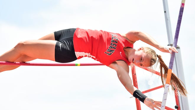 Pleasant's Alli Ward makes an attempt at pole vault during the Division III state finals Friday at Jesse Owens Memorial Stadium in Columbus. She was named Fahey Bank Female Athlete of the Month for May.