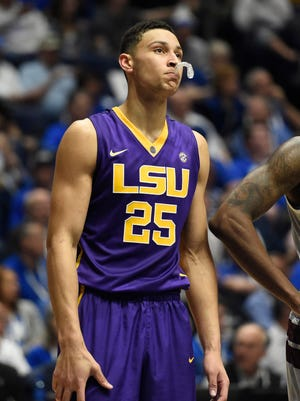 LSU Tigers forward Ben Simmons (25) looks on after his third foul in the first half against the Texas A&M Aggies during the SEC conference tournament at Bridgestone Arena.