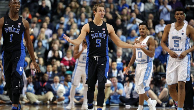 Duke Blue Devils guard Luke Kennard (5) reacts during the first half of an ACC Conference Tournament game against the North Carolina Tar Heels at Barclays Center on March 10.