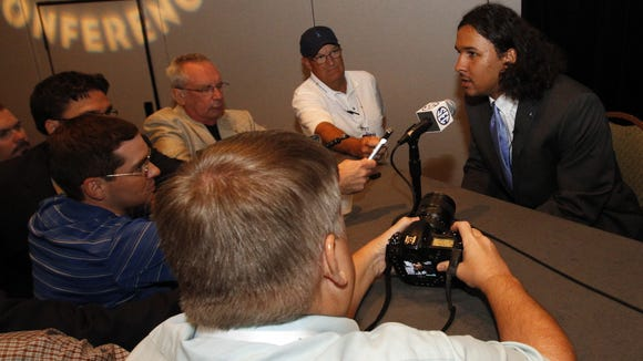 Mississippi safety Cody Prewitt speaks to the media at the Southeastern Conference NCAA college football media days, Thursday, July 17, 2014, in Hoover, Ala. (AP Photo/Butch Dill)