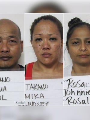 Joshua Paul Taitano, Mika Lindsey Takano,  Johnnie Rosalind Rosario are shown in this combined photo.