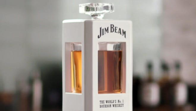 Jim Beam's smart decanter answers questions and can pour a glass of bourbon using a voice command.