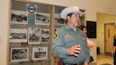 Sheriff Marco Lucero speaks to the press about the final vote on Question 1 at the Municipal Building Tuesday night.