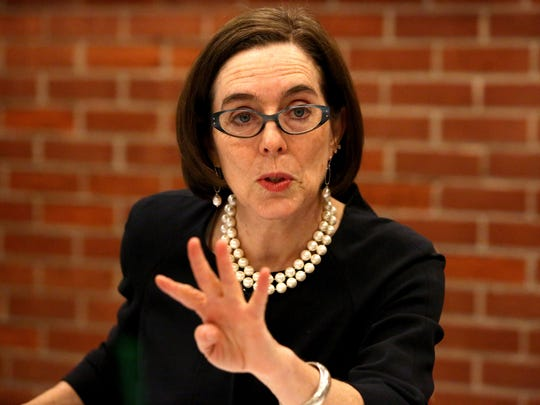 Gov. Kate Brown talks with the Statesman Journal editorial board on Tuesday, March 10, 2015.