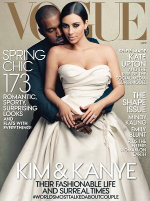 Kanye West and Kim Kardashian cover the April 2014 edition of 'Vogue.'