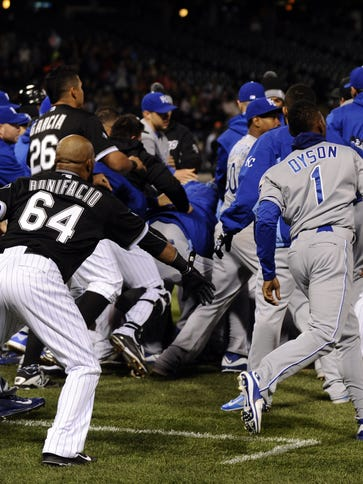 The brawl heats up during the seventh inning.