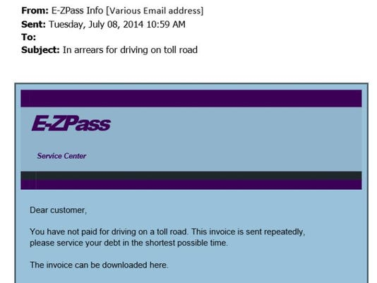 E-ZPpass scam email