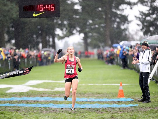 North Rockland's Katelyn Tuohy crosses the finish line