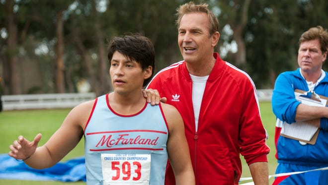 """""""McFarland USA,"""" starring Carlos Pratts, left,  and Kevin Costner, is based on a true story."""